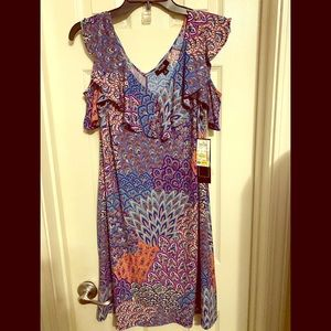NWT MSK Calypso-print Dress w/Cold Shoulder Sz. M